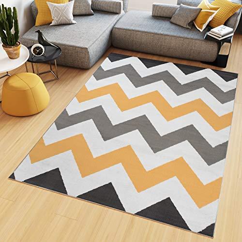 Tapiso Maya Alfombra de Salón Sala Diseño Moderno Naranja Blanco Gris Negro Geométrico Zigzag Delgada 160 x 230 cm