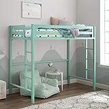 Walker Edison Furniture Premium Twin Metal Loft Bed, Mint