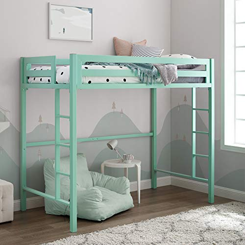 Walker Edison Furniture Company Metal Twin Loft Bunk Kids Bed Bedroom Storage Guard Rail Ladder, Mint