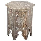 Casa Moro Orientalischer Beistelltisch Aamir Höhe 42 x Ø 33 cm Echtholz Mango handbemalt | Kunsthandwerk Pur | Vintage Nachttisch Shabby Chic Tisch (Normal)