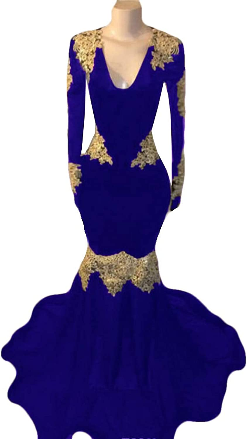 WZW 2K19 African Mermaid Evening Dresses Deep V Neck gold Lace Appliques Long Sleeves Prom Dress Sweep Train Party Gowns
