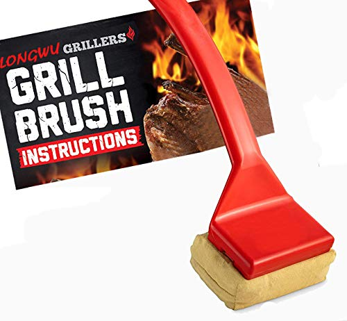 Longwu Grill Brush Bristle Free BBQ Replaceable Cleaning Head - Durable and Unique Scraper Tools for Cast Iron or Stainless-Steel Grates Barbecue Cleaner