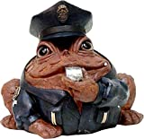 Homestyles Toad Hollow #94086 Figurine Policeman in Cop Uniform with Cap Badge & Whistles Rescue Character Garden Small 5.5' h Statue Toad Figure Coffee