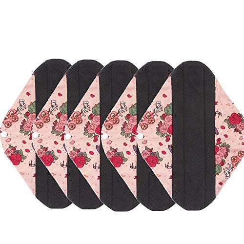 AIYoo Sanitary Pads, Menstrual Pads, 5 Stks Set,Bamboe Houtskool Herbruikbare Wasbare Mama Towel Pad,Sanitaire servetten, Grote Doek, Houtskoollaag om lekken, geuren en vlekken te voorkomen