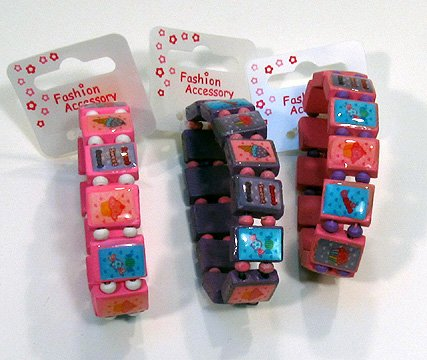 Girls Purple Wooden Square Candy Stretch Bracelet IN2003