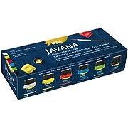Kreul 90598 - Javana Stoffmalfarbe für helle und dunkle Stoffe, Grundfarbenset, brillante Farbe mit pastosem Charakter, nach Fixierung waschbeständig, 6 x 20 ml Farbe und ein Pinsel