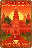 Vintage TRAVEL Posters of Angkor WAT and Cambodia Tin/Metal