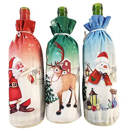 REFURBISHHOUSE 3 StüCke Weihnachten Weinflasche Kleid Weinflasche Abdeckung Wein Mantel Alter Mann Schneemann Elch Print Flasche Kleid Sets Weihnachten Party Dekorationen