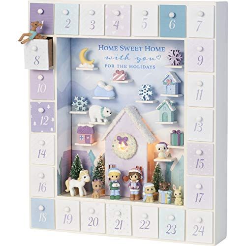 Precious Moments 201407 Winter Moments LED Wood/Resin Advent Calendar, One Size, Multicolored