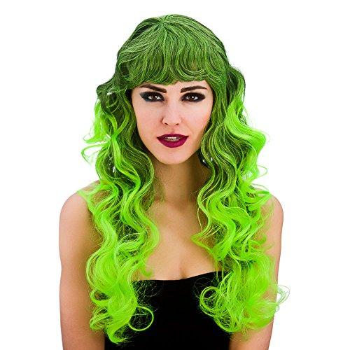 Ladies Black/Green Spellbound Wig (Curly) Halloween Fancy Dress Accessory