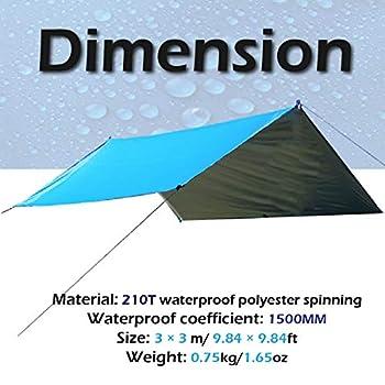 TRIWONDER Tarp 3 x 3 m Bâche de Camping Toile de Tente Imperméable Bâche Anti-Pluie Abri de Randonnée Auvent Abri Léger pour Pique-Nique Plage (Noir)