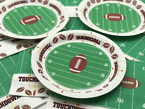 Serves 60 Football Touchdown Plates   9 Inches Dinner Plates - 60 Count - Ideal for Superbowl, playoffs, birthday party, baby shower