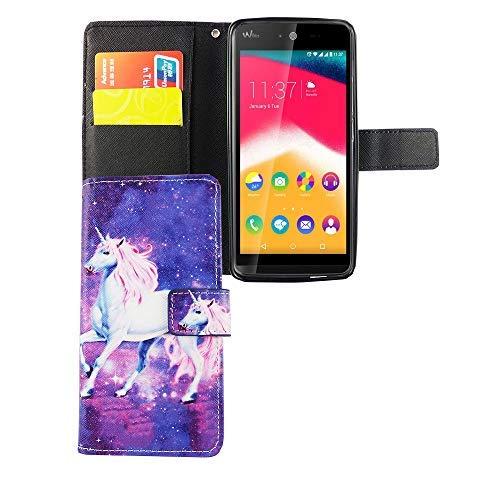 König Design Handyhülle Kompatibel mit Wiko Rainbow Jam Handytasche Schutzhülle Tasche Flip Hülle mit Kreditkartenfächern - Einhorn Violett