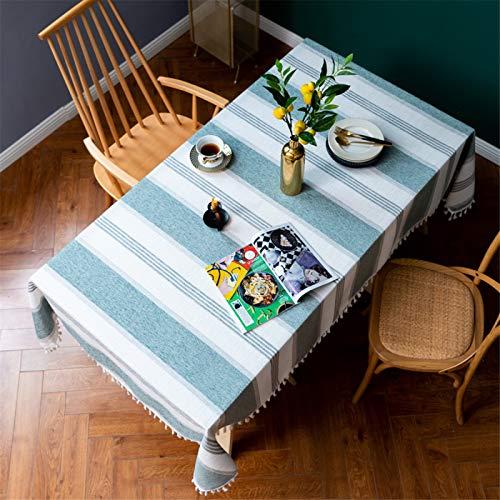 Mantel Rectangular A Rayas con Flecos para Restaurante En Casa, Mantel Redondo De Poliéster para Hotel, Mantel Cuadrado 140x220cm