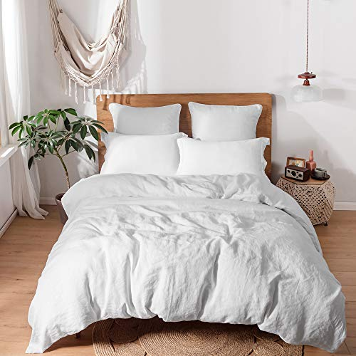 Simple&Opulence 100% Linen Duvet Cover Set with Washed-French Flax-3 Pieces Solid Color Basic Style Bedding Set-Breathable Soft Comforter Cover with 2 Pillowshams(King,White)