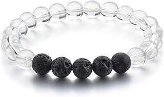 REBUY® Natural Stone Beaded Bracelet,Clear Quartz And Lava Stone Bead Bracelet for Men & Women 8 mm