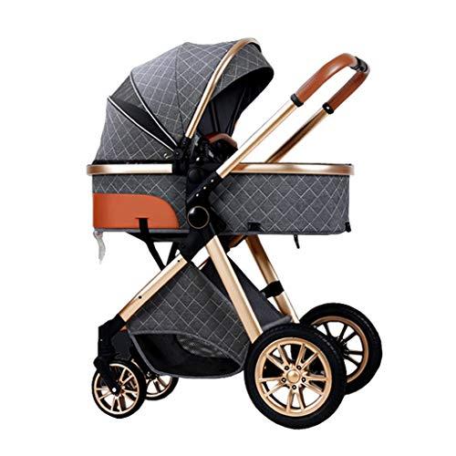 YXCKG Cochecito De Conveniencia, Carriolas Compactos De Sillas De Paseo, Sillas De Paseo para Bebés De Alta Vista para Bebés Recién Nacidos, Toldo de Gran tamaño para Cochecito de bebé (Color : Grey)