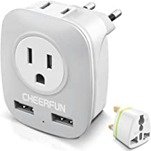 European Adapter, European Travel Plug Adapter with 2 USB Port, International Travel Adapter 2AC Outlet for Almost All Countries To Europe EU,Type C Plug+Type G Plug Power Adapter (Small)