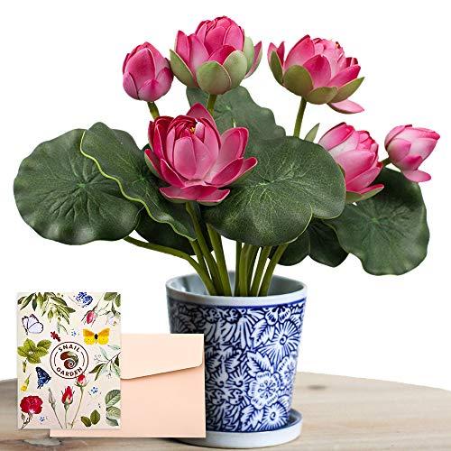 SnailGarden 2 Sträuße Künstliche Lotus Blume Schaum Wasserlilie, Lotus Kunstblumen deko Lotus Künstliche Blumen Seerose Blume Dekor für Vase Indoor Teich Aquarium Pool Outdoor