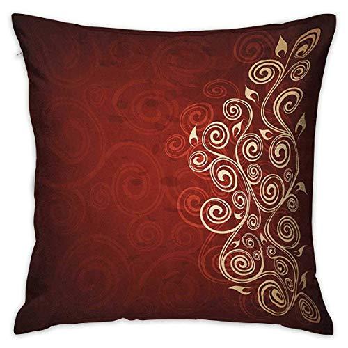 Funda de almohada con diseño cuadrado de color burdeos, imagen de hiedra con forma de remolino de flores florales con detalles de Ombre, ilustraciones de fondo grunge, fundas de cojín de color rubí bl
