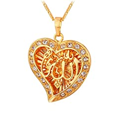 Made of environmental friendly copper,18K gold, white rhinestone Metal type:18K Gold Plated, 18k gold plated is method of depositing a thin layer of 18k gold onto the surface of copper. [Valentines-day gift]:Fashion heart shaped design, gift for fema...