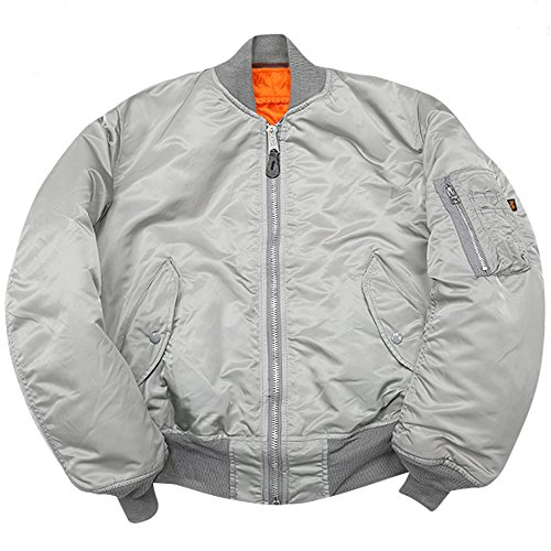 Alpha Industries New Made in USA MA-1 US Army Pilot Flight Military Bomber AF Jacket Silver (2X-Large)