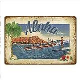 shovv Letrero de Chapa metálica Vintage Surf Shop Decoración Aloha Hawaii Carteles de Chapa metálicos Arte de la Pared Pintura Placa Seaside Bar Pub Club Placa Waikiki Beach Poster- # 022_20 * 30cm
