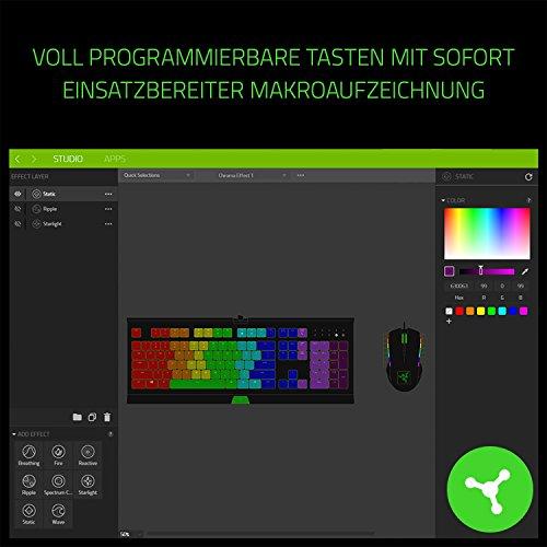 Razer Cynosa Chroma - Gaming Tastatur mit weichen gefederten, membranen Schaltern (Voll programmierbar, Anti-Ghosting, 10-Tasten-Rollover, RGB Chroma) QWERTZ | DE-Layout, Schwarz