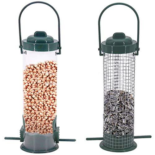 Cuasting Bird Feeders Hanging Bird Feeders Stations for Small Birds for Wild Birds Seed Feeder/Sunflower Hearts Bird Food 2 Pcs