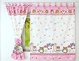 BABYLUX Kinderzimmer VORHANGE mit Schlaufen Kinder und Baby Gardinen 160x120 cm (56. Eule Rosa)