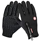 TraAcc Winter Gloves, Touch Screen Gloves Black Gel Men & Women Gloves for Cycling, Running, Climbing and Winter Outdoor Sports- Windproof and Adjustable Size