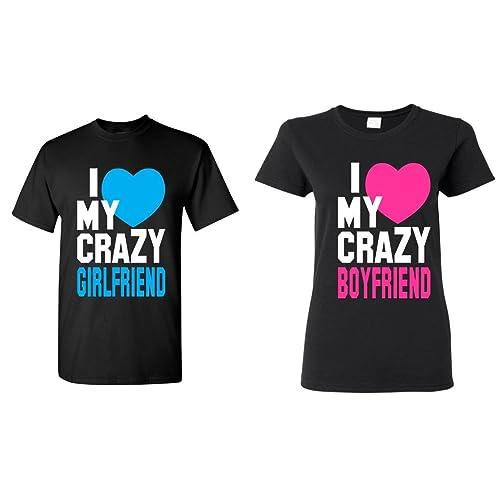 52603f35f1 Shop4Ever I Love My Crazy Girlfriend - Boyfriend Couples Matching T-Shirts