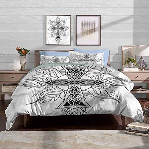 vsunburst Duvet Cover Set Quilt Cover Celtic Crib Bedding Sets Gothic Flames Cross for Adult/Kids Decorative 3 Piece Bedding Set with 2 Pillow Shams, King Size