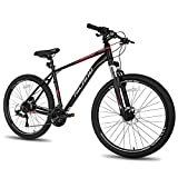 Hiland 27.5 Inch Mountain Bike 27-Speed Hydraulic Disc-Brake,Lock-Out Suspension Fork MTB Bicycle 18 inch Frame Black&Red