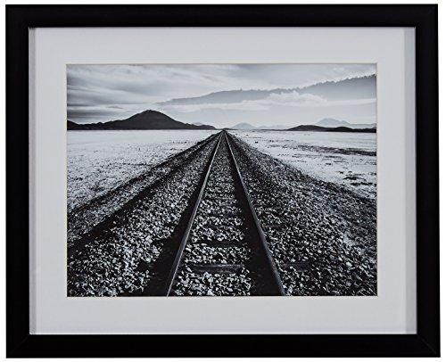 Amazon Brand – Rivet Black and White Desert Railroad Tracks Photography Wall Art Print, Black frame, 15