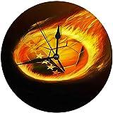 Zseeda Moderne dekorative runde Wanduhr Flaming Bosnien und Herzegowina Fußballbatterie betrieben 9,8 '