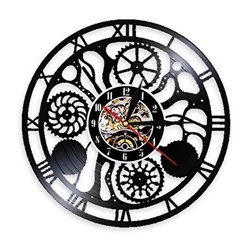 XYVXJ Engranaje Vintage Reloj de Pared Relojes Mecanismo Engranajes Rueda Dentada Reloj de Vinilo Decoración Interior del hogar Decoración de Loft Decoración