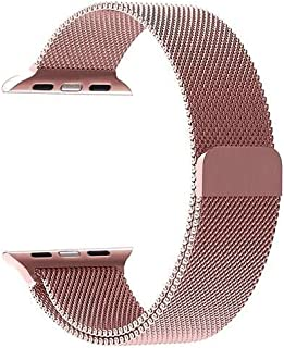 Jun-Yue Apple Watch Band 42mm/44mm Rose Gold Adjustable Stainless Steel Mesh Wrist Strap for iWatch Series 5 4 3 2 1