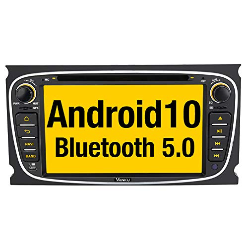 Vanku Android 10 Autoradio für Ford Radio DVD Player mit Navi Unterstützt Qualcomm Bluetooth 5.0 DAB + CD WiFi 4G Android Auto USB MicroSD 2 Din 7 Zoll Bildschirm Schwarz