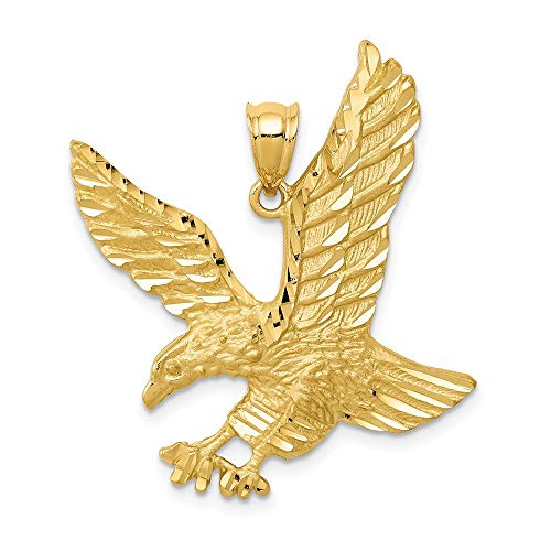 14k Yellow Gold Eagle Pendant Charm Necklace Bird Fine Jewellery For Women Gifts For Her