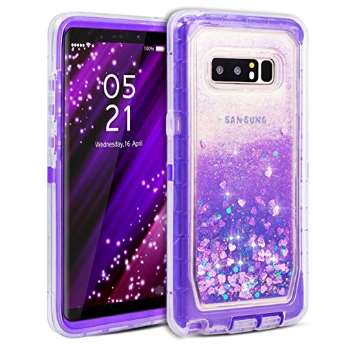 Dexnor Galaxy Note 8 Case, Glitter 3D Bling Sparkle Flowing Quicksand Liquid Bumper Clear 3 in 1 Shockproof TPU Silicone + PC Heavy Duty Protective Defender Cover for Samsung Galaxy Note 8 - Purple