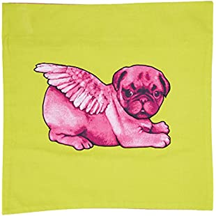 Pugs Might Fly Pink Biddy Pug on Cushion Square, Lime