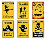 """Hang these posters up at your next zombie party or Halloween party!Your guest will love them. 12pcs Halloween sign posters + 100pcs glue dot in package. Made of single-printed paper.Each poster measures 7.87"""" x 11.8"""". Easily apply it to your door wi..."""