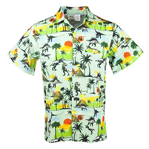 Funny Guy Mugs Mens Dinosaur Hawaiian Print Button Down Short Sleeve Shirt, Small