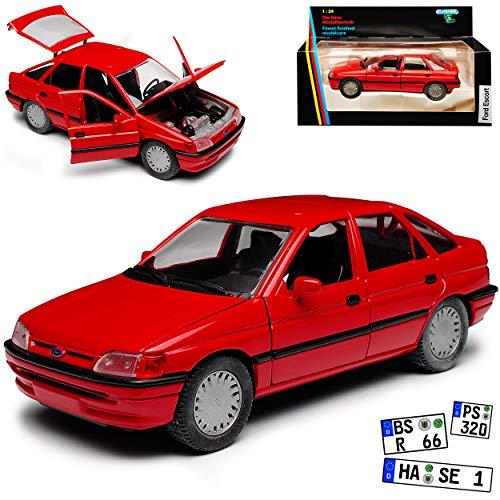 Schabak Ford Escort Schrägheck 5 Türer Mittel Rot 5. Generation 1990-2000 1/24 Modell Auto mit individiuellem Wunschkennzeichen