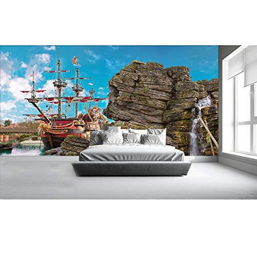 Halle Benutzerdefinierte 3D-Kindertapete Pirate Island Wandbilder für Kinderzimmer Wohnzimmer Hintergrund Home Decoration nordische minimalistische Literatur und Kunst-5