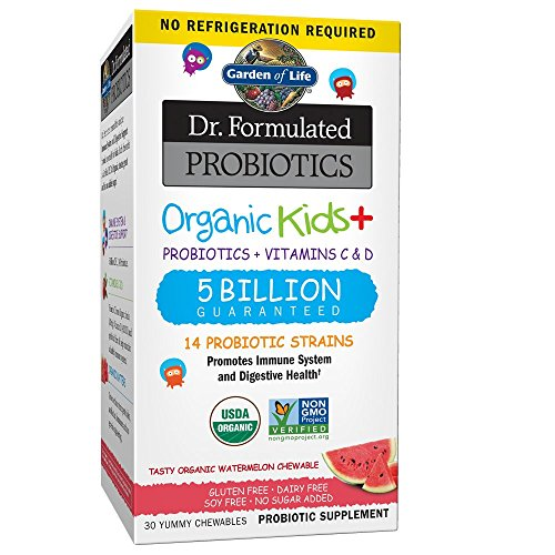 Garden of Life Dr. Formulated Probiotics Organic Kids+ plus Vitamin C & D - Watermelon - Gluten, Dairy & Soy Free Immune & Digestive Health Supplement, No Added Sugar, 30 Chewables (Shelf Stable)