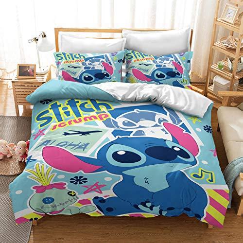 2/3 Pcs Cartoon Lilo Stitch Print Duvet Quilt Cover Set,100% Microfibre Blue Bedding Set with Hidden Zipper,for Kids Teens Adult Bed Gift (R,Single135x200)