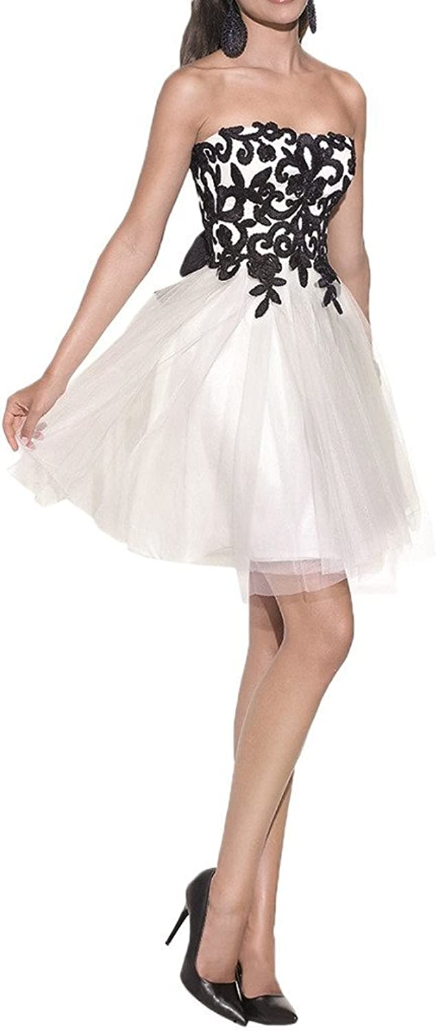 Angel Bride Short Strapless Christmas Dress Black White Lace Appliqued Top Prom Party Gowns