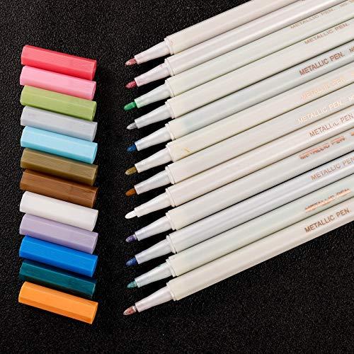 Firtink 12 Farben Metallic Marker Stifte 1mm Feiner Spitze Premium Stifte malen für DIY Fotoalbum, Gästebuch, Hochzeit, Glas, Kunststoff, Stein, Holz